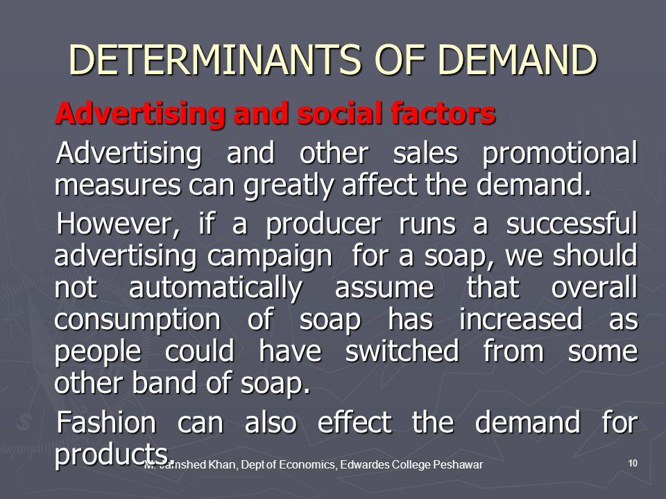 M. Jamshed Khan, Dept of Economics, Edwardes College Peshawar 10 DETERMINANTS OF DEMAND Advertising and social factors Advertising and social factors