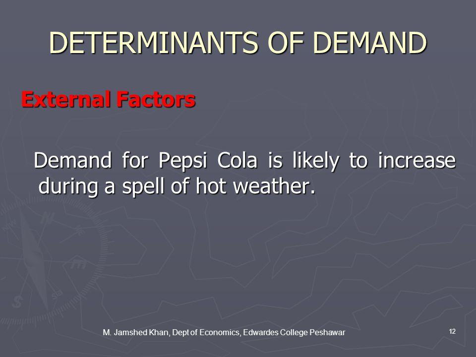 M. Jamshed Khan, Dept of Economics, Edwardes College Peshawar 12 DETERMINANTS OF DEMAND External Factors Demand for Pepsi Cola is likely to increase d