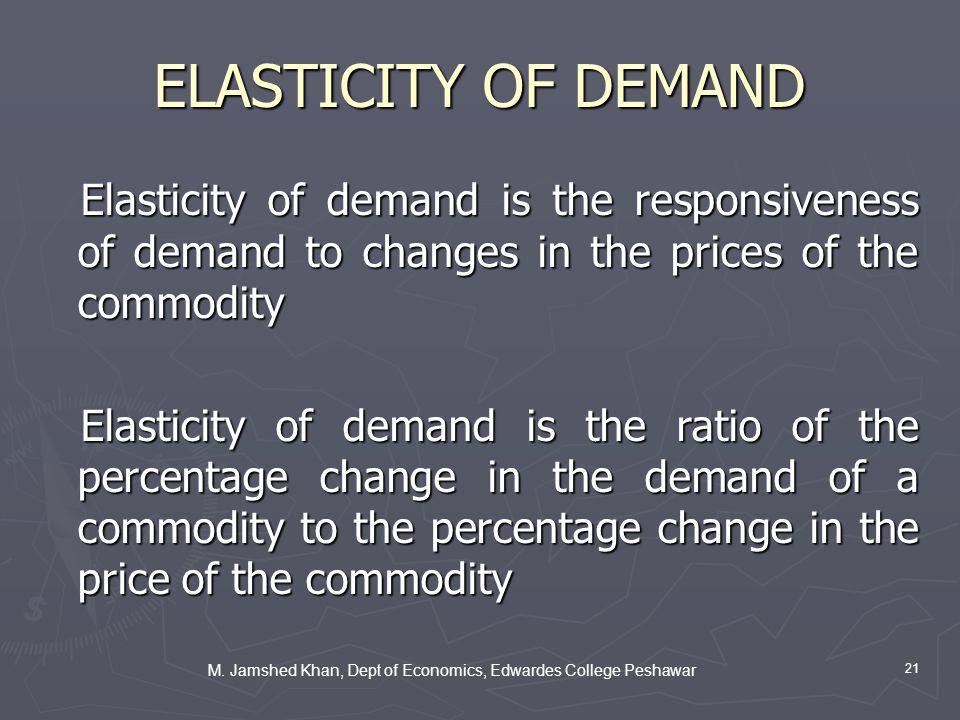 M. Jamshed Khan, Dept of Economics, Edwardes College Peshawar 21 ELASTICITY OF DEMAND Elasticity of demand is the responsiveness of demand to changes