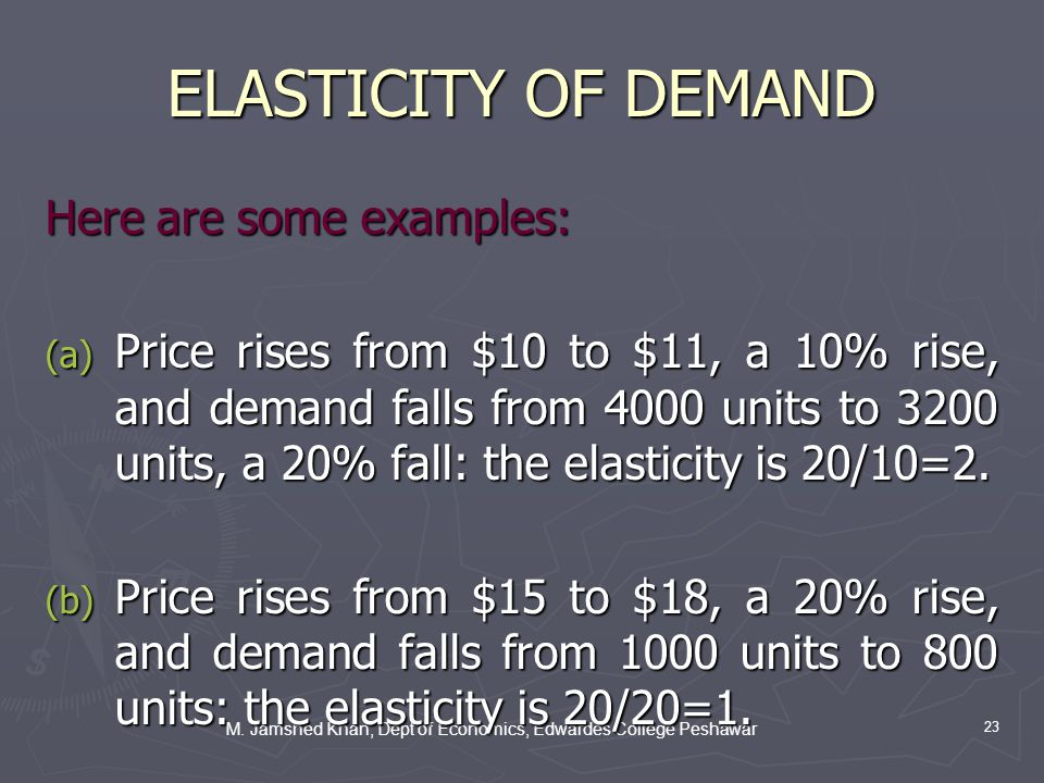 M. Jamshed Khan, Dept of Economics, Edwardes College Peshawar 23 ELASTICITY OF DEMAND Here are some examples: (a) Price rises from $10 to $11, a 10% r