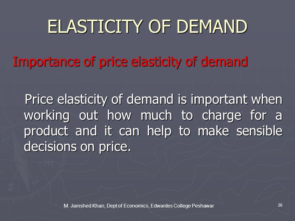 M. Jamshed Khan, Dept of Economics, Edwardes College Peshawar 26 ELASTICITY OF DEMAND Importance of price elasticity of demand Price elasticity of dem