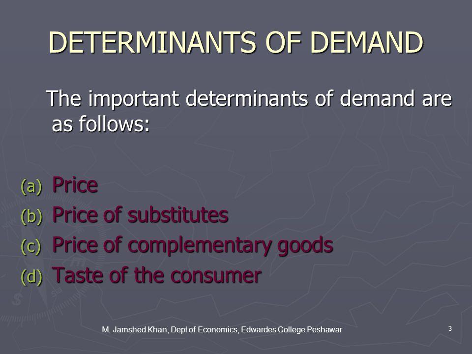 M. Jamshed Khan, Dept of Economics, Edwardes College Peshawar 3 DETERMINANTS OF DEMAND The important determinants of demand are as follows: The import