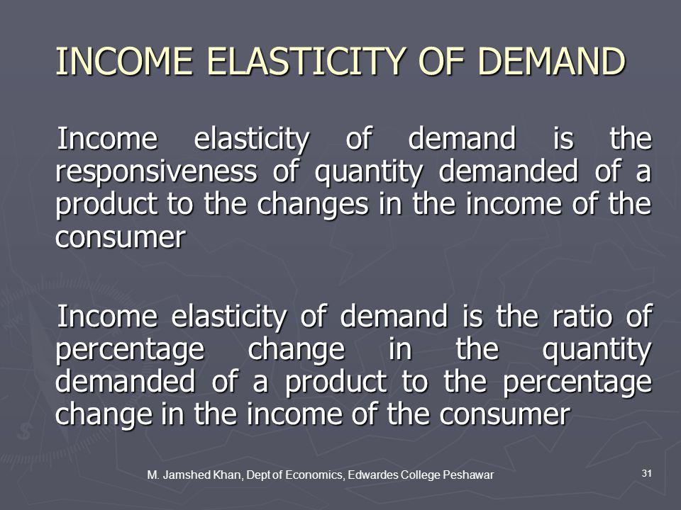M. Jamshed Khan, Dept of Economics, Edwardes College Peshawar 31 INCOME ELASTICITY OF DEMAND Income elasticity of demand is the responsiveness of quan
