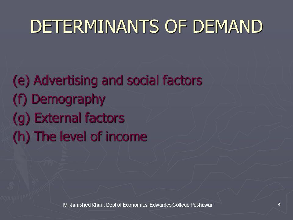 M. Jamshed Khan, Dept of Economics, Edwardes College Peshawar 4 DETERMINANTS OF DEMAND (e) Advertising and social factors (f) Demography (g) External