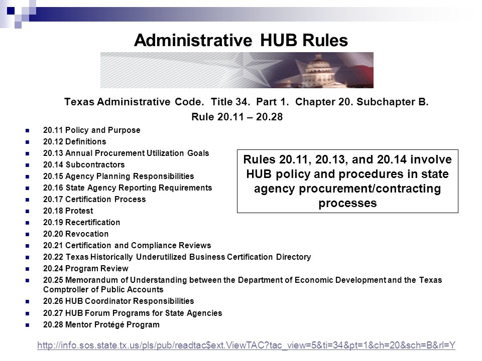 Rules 20.11, 20.13, and 20.14 involve HUB policy and procedures in state agency procurement/contracting processes Texas Administrative Code. Title 34.