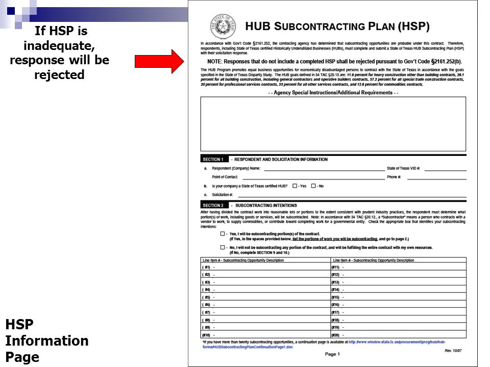 If HSP is inadequate, response will be rejected HSP Information Page