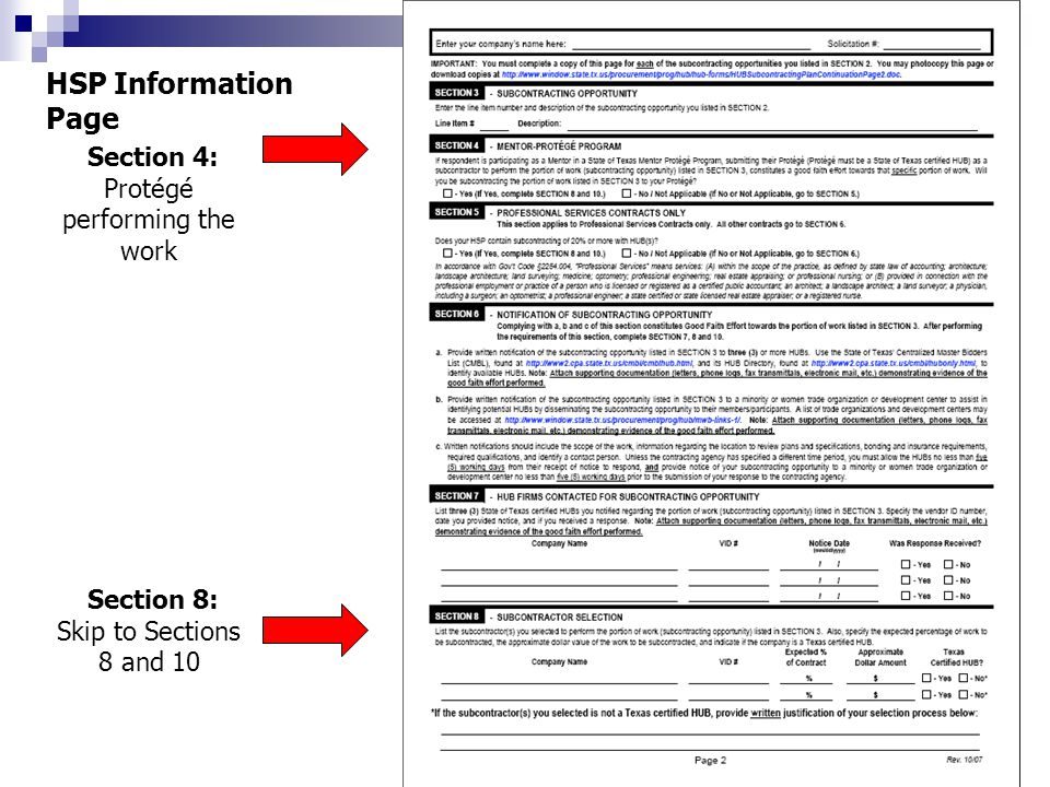 Section 4: Protégé performing the work HSP Information Page Section 8: Skip to Sections 8 and 10