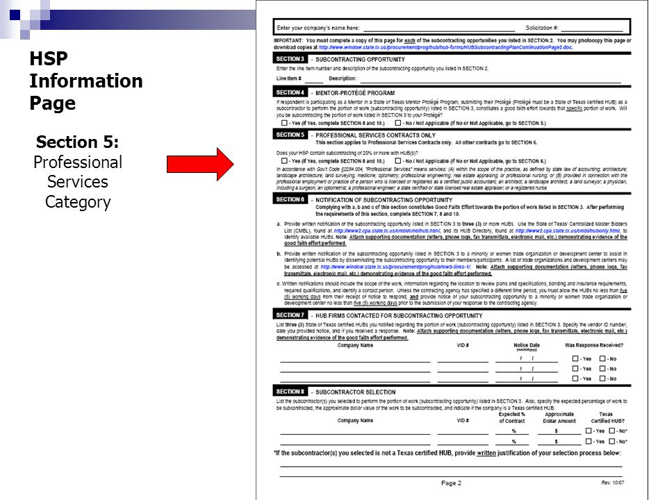 Section 5: Professional Services Category HSP Information Page