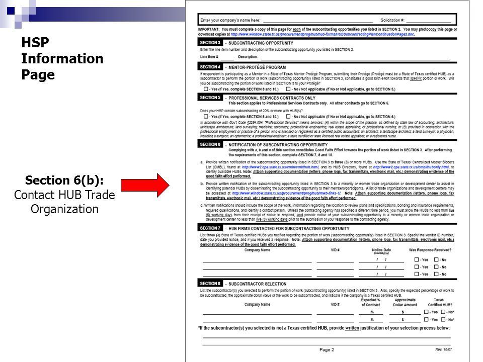 Section 6(b): Contact HUB Trade Organization HSP Information Page