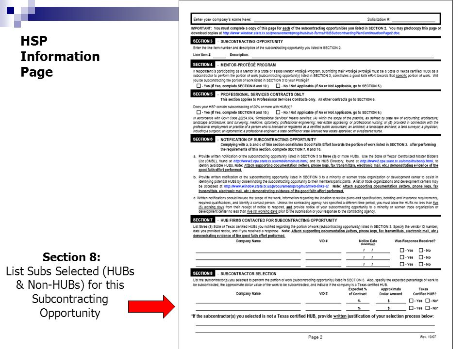 Section 8: List Subs Selected (HUBs & Non-HUBs) for this Subcontracting Opportunity HSP Information Page