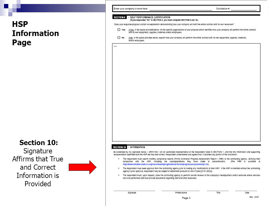 Section 10: Signature Affirms that True and Correct Information is Provided HSP Information Page