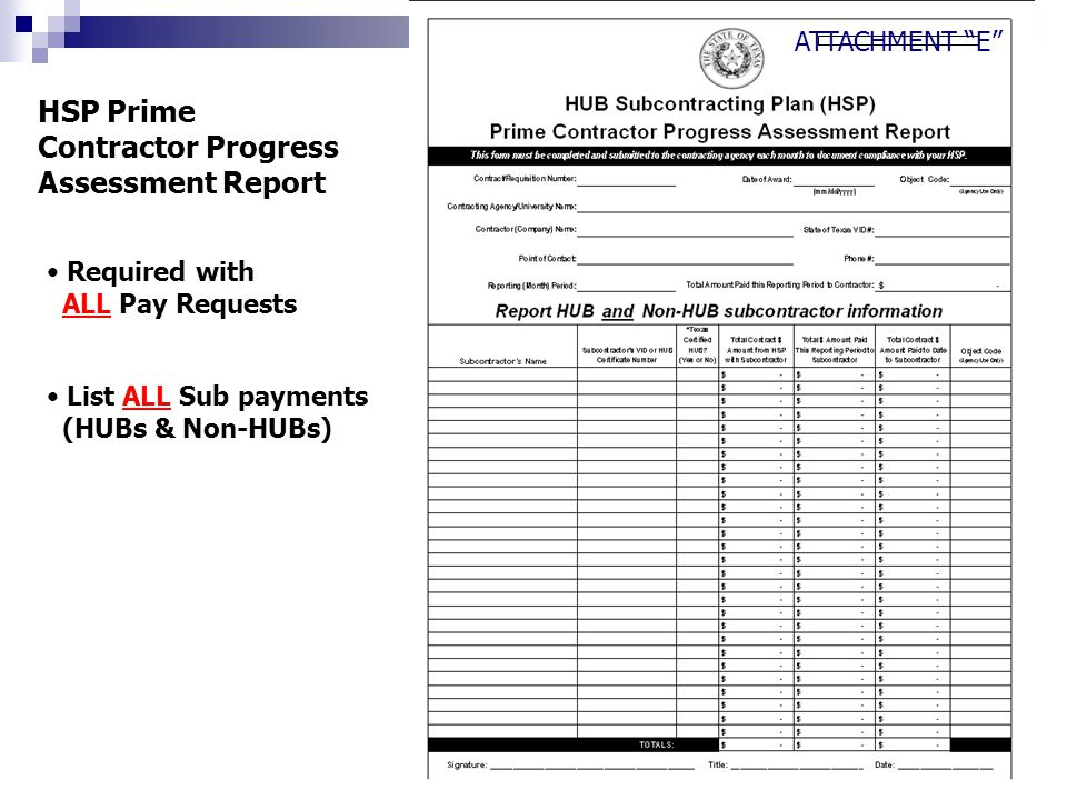 Required with ALL Pay Requests List ALL Sub payments (HUBs & Non-HUBs) HSP Prime Contractor Progress Assessment Report ATTACHMENT E