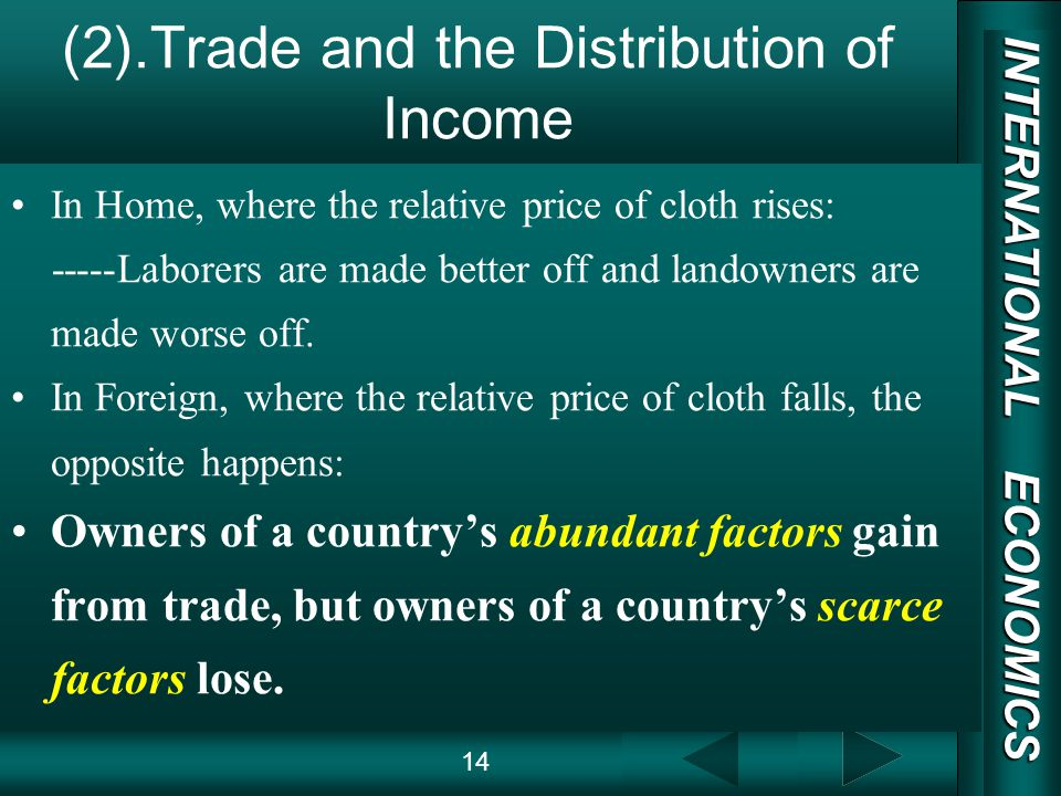 INTERNATIONAL ECONOMICS 03/01/20 COPY RIGHT (2).Trade and the Distribution of Income In Home, where the relative price of cloth rises: -----Laborers are made better off and landowners are made worse off.