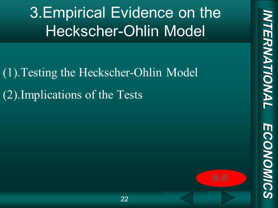 INTERNATIONAL ECONOMICS 03/01/20 COPY RIGHT 3.Empirical Evidence on the Heckscher-Ohlin Model (1).Testing the Heckscher-Ohlin Model (2).Implications of the Tests 22
