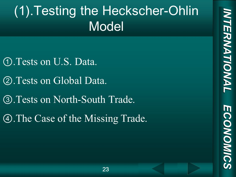 INTERNATIONAL ECONOMICS 03/01/20 COPY RIGHT (1).Testing the Heckscher-Ohlin Model.Tests on U.S.