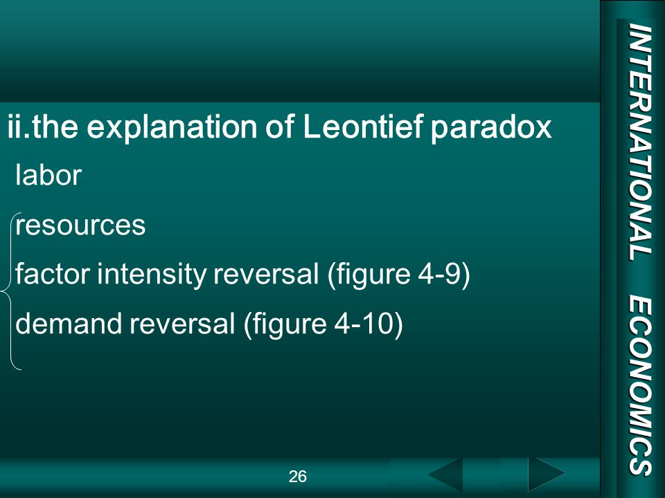INTERNATIONAL ECONOMICS 03/01/20 COPY RIGHT.the explanation of Leontief paradox labor resources factor intensity reversal (figure 4-9) demand reversal (figure 4-10) 26