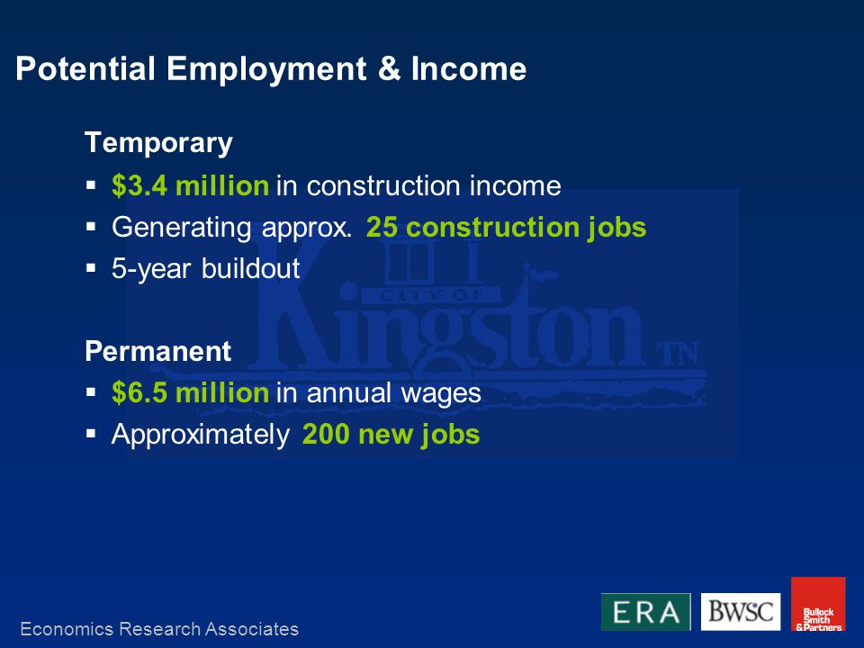 Potential Employment & Income Temporary $3.4 million in construction income Generating approx.