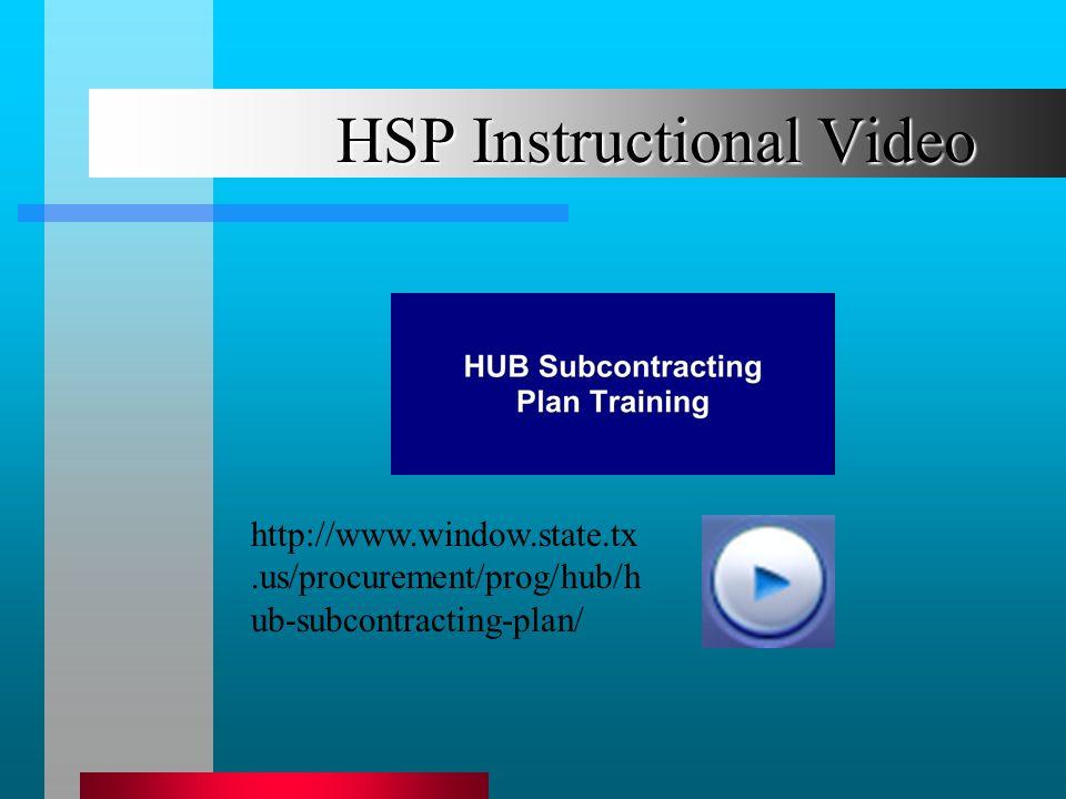 HSP Instructional Video http://www.window.state.tx.us/procurement/prog/hub/h ub-subcontracting-plan/