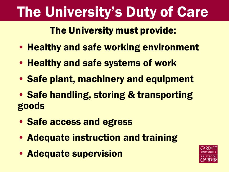 The University must provide: Healthy and safe working environment Healthy and safe systems of work Safe plant, machinery and equipment Safe handling, storing & transporting goods Safe access and egress Adequate instruction and training Adequate supervision The Universitys Duty of Care