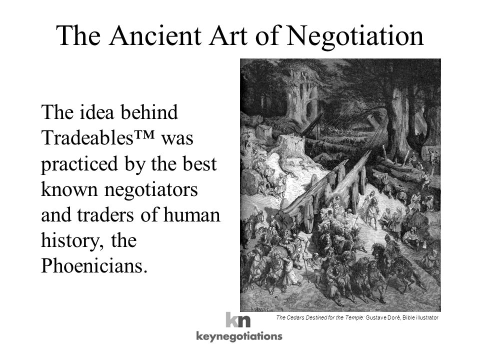 The Ancient Art of Negotiation The idea behind Tradeables was practiced by the best known negotiators and traders of human history, the Phoenicians.