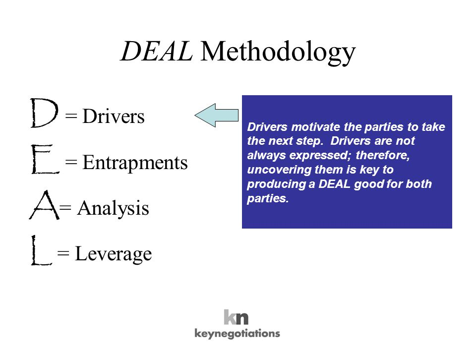 DEAL Methodology D = Drivers E = Entrapments A = Analysis L = Leverage Entrapments are barriers to a DEAL.