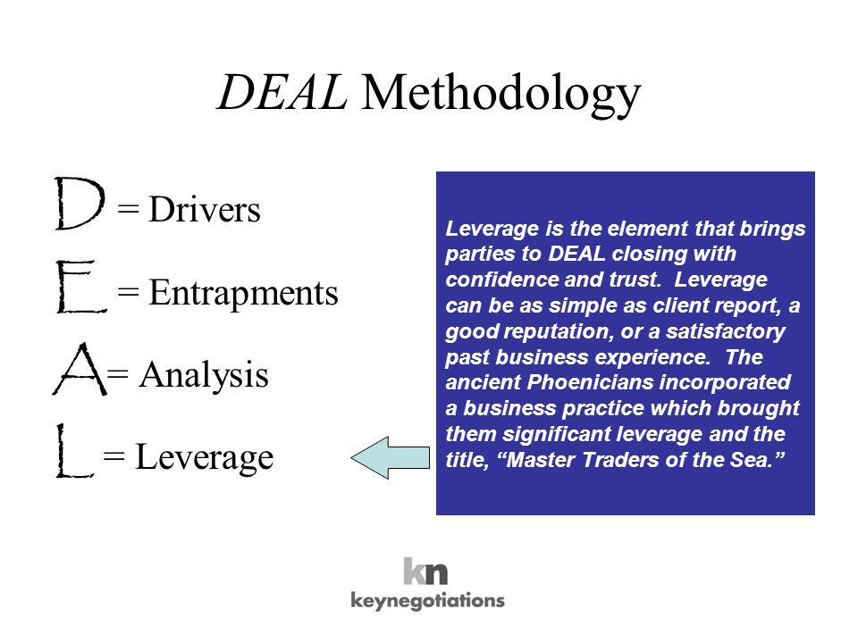 DEAL Methodology D = Drivers E = Entrapments A = Analysis L = Leverage Leverage is the element that brings parties to DEAL closing with confidence and trust.