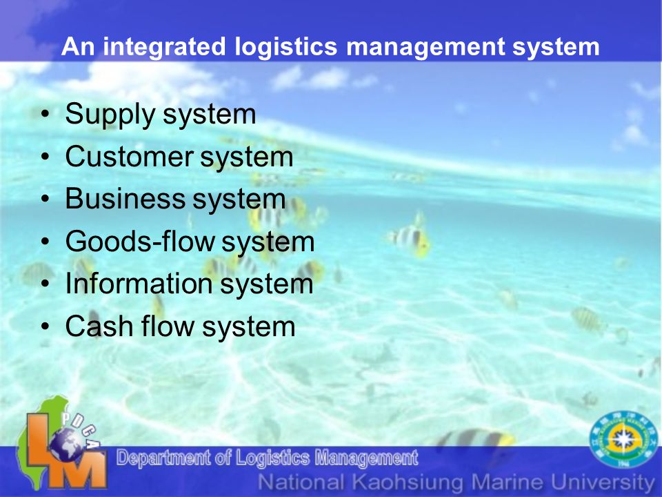 An integrated logistics management system Supply system Customer system Business system Goods-flow system Information system Cash flow system