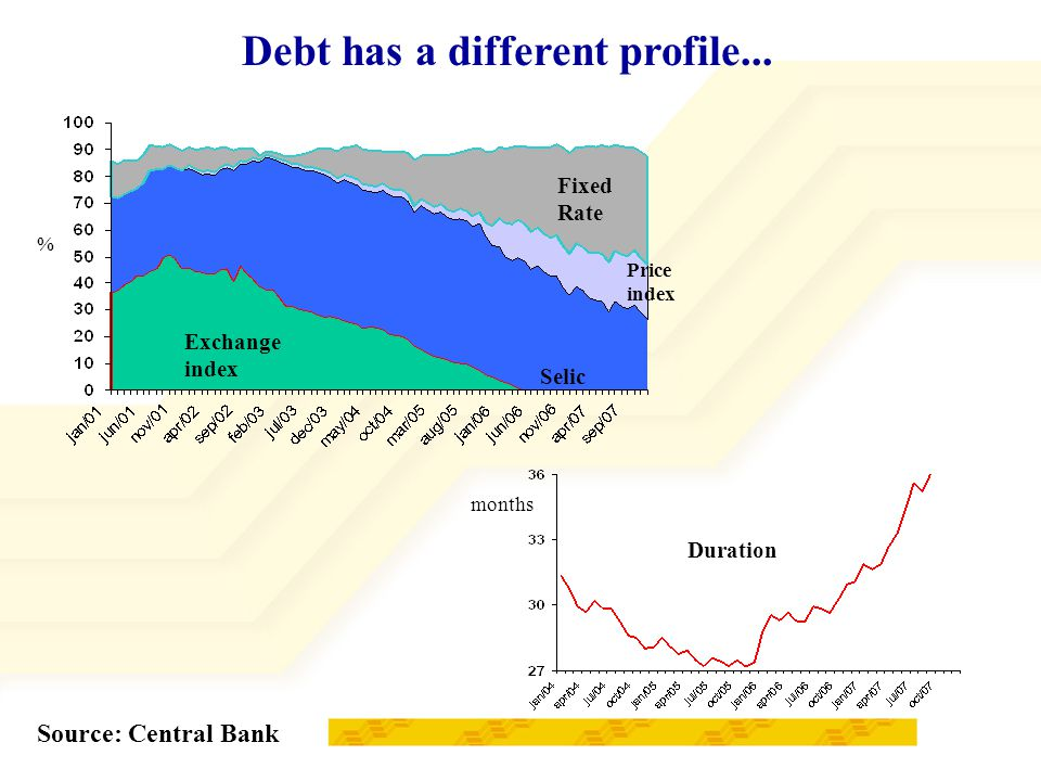 Exchange index Fixed Rate Price index Selic Debt has a different profile...