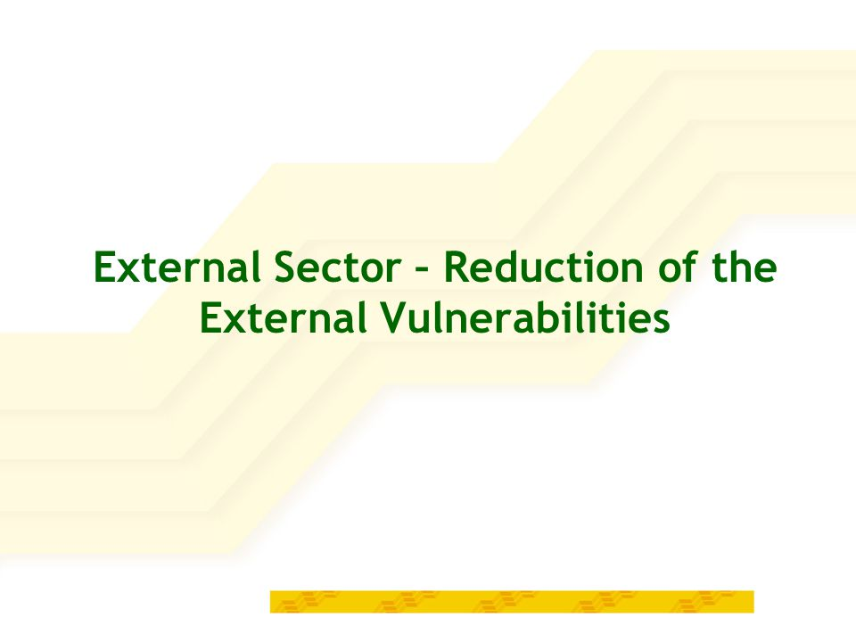 External Sector – Reduction of the External Vulnerabilities