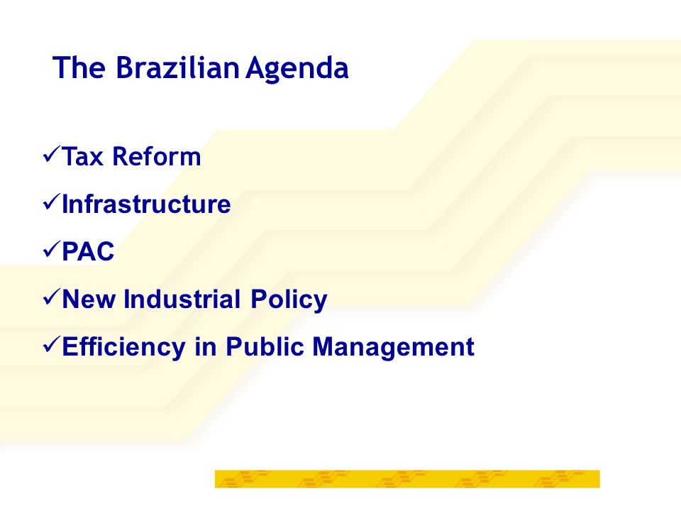 The Brazilian Agenda Tax Reform Infrastructure PAC New Industrial Policy Efficiency in Public Management