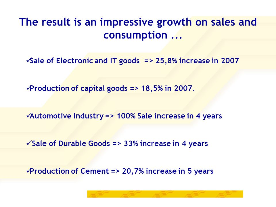 The result is an impressive growth on sales and consumption...