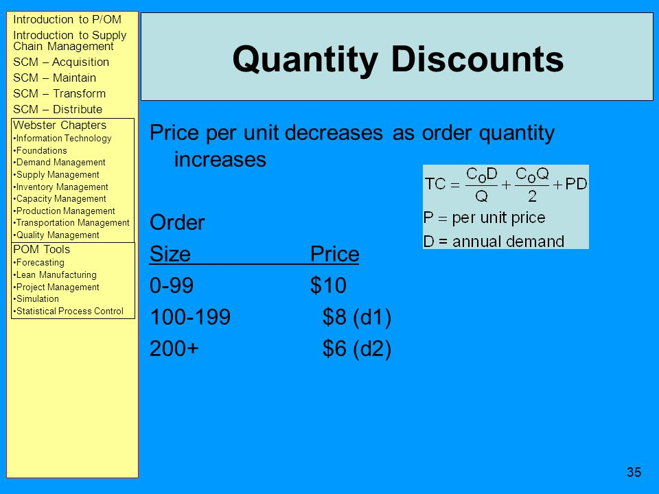 Introduction to P/OM Introduction to Supply Chain Management SCM – Acquisition SCM – Maintain SCM – Transform SCM – Distribute Webster Chapters Information Technology Foundations Demand Management Supply Management Inventory Management Capacity Management Production Management Transportation Management Quality Management POM Tools Forecasting Lean Manufacturing Project Management Simulation Statistical Process Control 34 Production Quantity Example C C = $0.75 per yard C O = $15 D = 10,000 yards d = 10,000/311 = 32.2 yards per day p = 150 yards per day Production run = Q/p=2,256.8/150=15.05 yards Number of production runs = D/Q=10,000/2,256.8 = 4.43