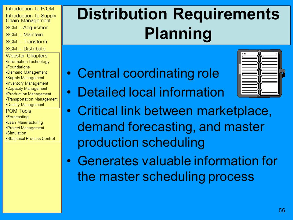 Introduction to P/OM Introduction to Supply Chain Management SCM – Acquisition SCM – Maintain SCM – Transform SCM – Distribute Webster Chapters Information Technology Foundations Demand Management Supply Management Inventory Management Capacity Management Production Management Transportation Management Quality Management POM Tools Forecasting Lean Manufacturing Project Management Simulation Statistical Process Control 55 Distribution Requirements Planning (Cont) helps managers anticipate future requirements and closely match the supply of products to demand, and adjust to changes in the marketplace.
