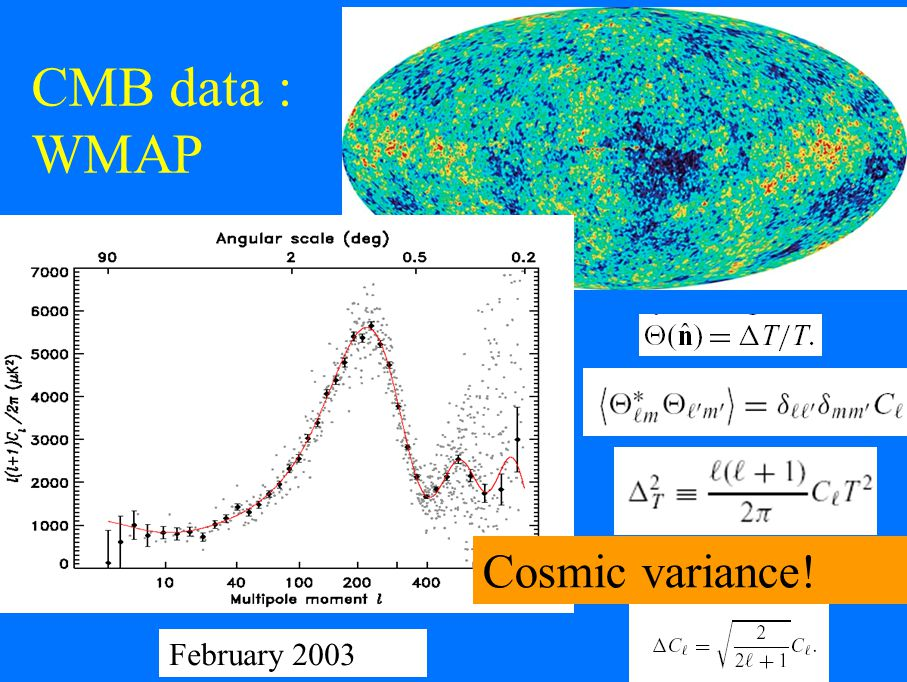 CMB data : WMAP February 2003 Cosmic variance!