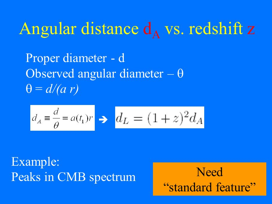 Proper diameter - d Observed angular diameter – d/(a r) Example: Peaks in CMB spectrum Angular distance d A vs.