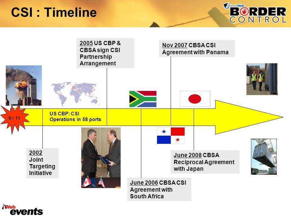 CSI : Timeline 2002 Joint Targeting Initiative 2005 US CBP & CBSA sign CSI Partnership Arrangement Nov 2007 CBSA CSI Agreement with Panama June 2006 CBSA CSI Agreement with South Africa June 2008 CBSA Reciprocal Agreement with Japan 9 / 11 US CBP: CSI Operations in 58 ports