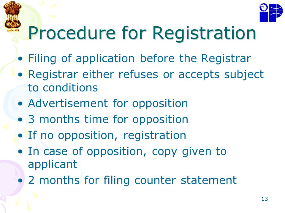 13 Procedure for Registration Filing of application before the Registrar Registrar either refuses or accepts subject to conditions Advertisement for o