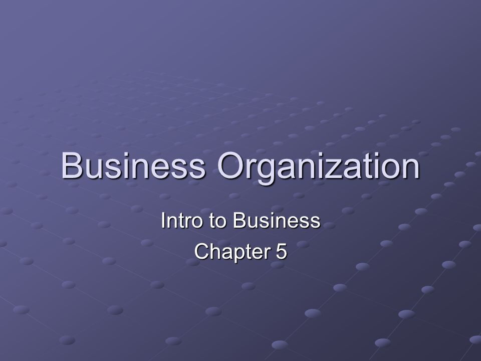 Business Organization Intro to Business Chapter 5
