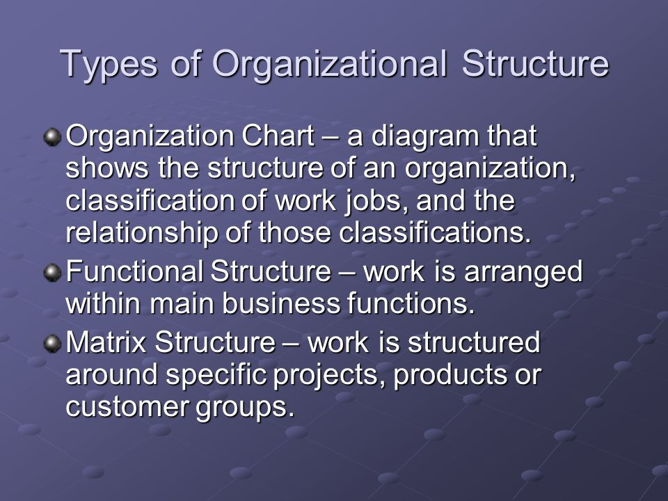 Types of Organizational Structure Organization Chart – a diagram that shows the structure of an organization, classification of work jobs, and the relationship of those classifications.