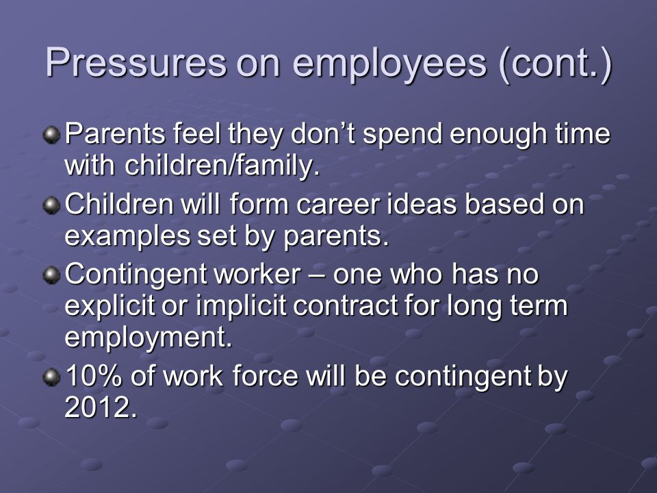 Pressures on employees (cont.) Parents feel they dont spend enough time with children/family.