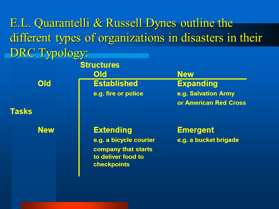 E.L. Quarantelli & Russell Dynes outline the different types of organizations in disasters in their DRC Typology: Structures OldNew OldEstablishedExpa