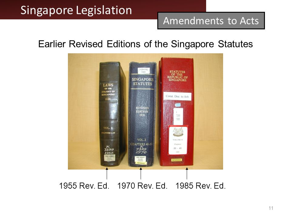 11 Earlier Revised Editions of the Singapore Statutes 1970 Rev.