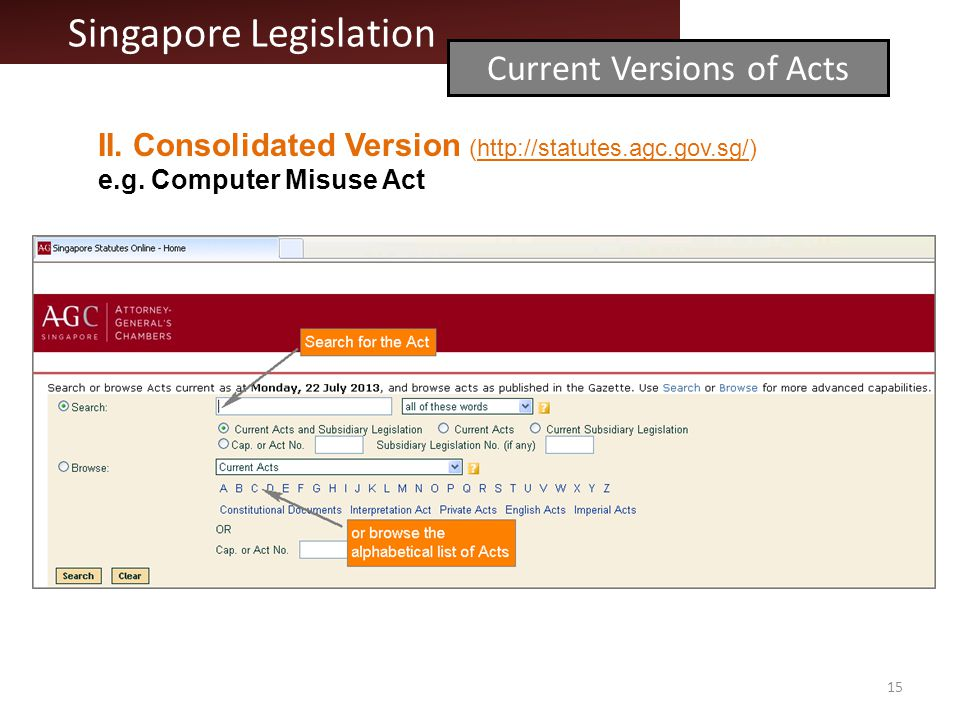 II. Consolidated Version (http://statutes.agc.gov.sg/)http://statutes.agc.gov.sg/ e.g.