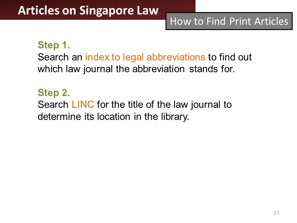 Articles on Singapore Law 23 Step 1.