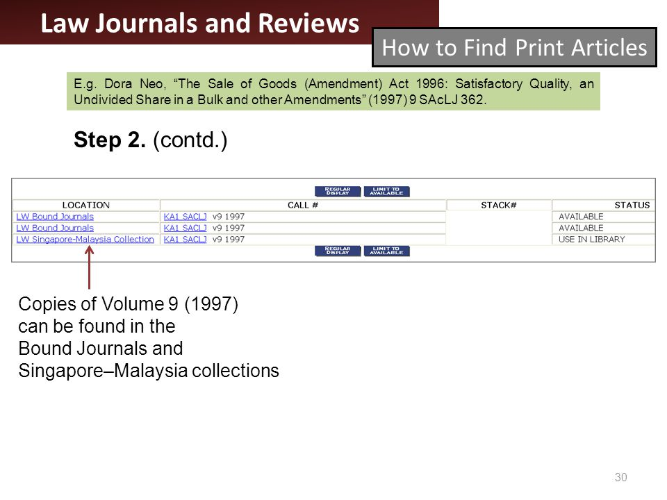 30 Law Journals and Reviews How to Find Print Articles Step 2.