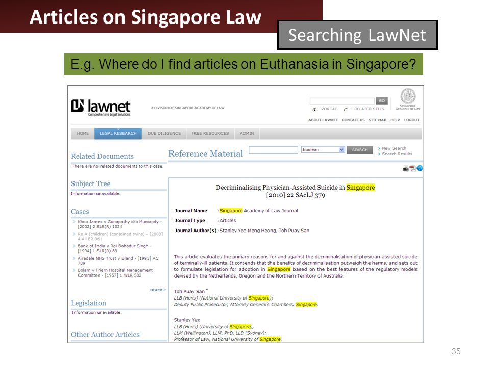 35 Articles on Singapore Law Searching LawNet E.g.