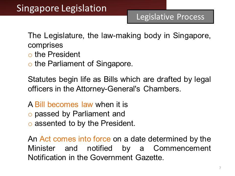 Singapore Legislation Legislative Process The Legislature, the law-making body in Singapore, comprises o the President o the Parliament of Singapore.