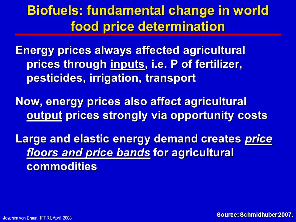 Joachim von Braun, IFPRI, April 2008 Biofuels: fundamental change in world food price determination Energy prices always affected agricultural prices through inputs, i.e.