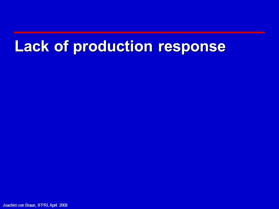 Joachim von Braun, IFPRI, April 2008 Lack of production response