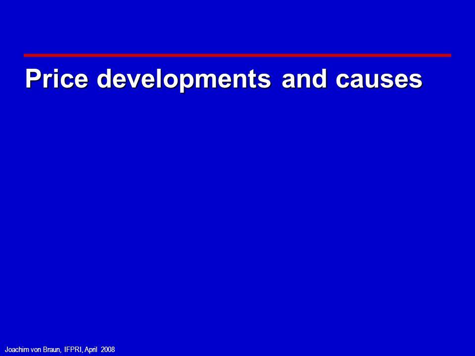 Joachim von Braun, IFPRI, April 2008 Price developments and causes